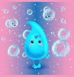 Water drop character Cute cartoon vector image