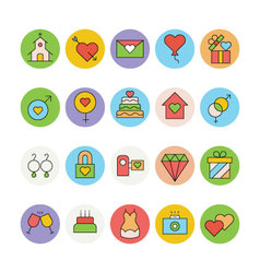 Wedding Colored Icons 4 vector image