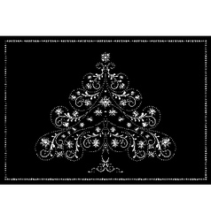 White tracery christmas tree with snowflakes vector