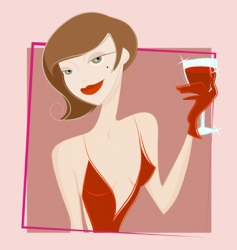 woman drinking wine vector image