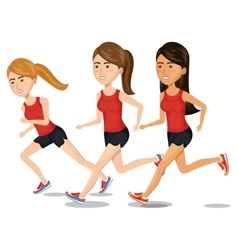 women running characters icon vector image
