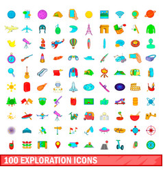100 exploration icons set cartoon style vector