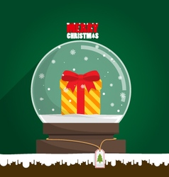 Merry Christmas gift in snow globe vector image