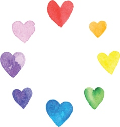 Rainbow hearts vector