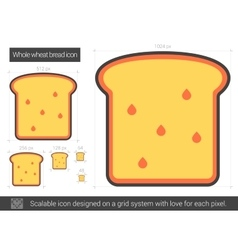 Whole wheat bread line icon vector