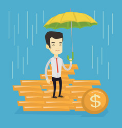 business man insurance agent with umbrella vector image