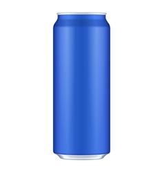 Blue metal aluminum beverage drink can 500ml vector
