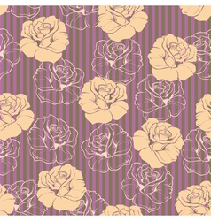 Seamless retro floral pattern with pink roses vector