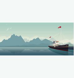 retro pleasure boat in style of old steamer vector image