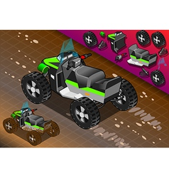Isometric quad bike in rear view vector