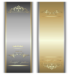 Gold and silver ribbons vector