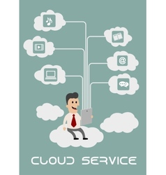 Businessman enjoying cloud computing vector