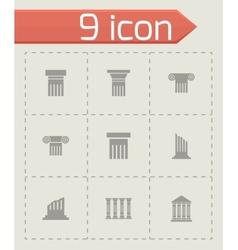 Black column icon set vector