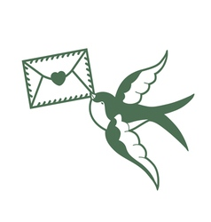 Swallow with love mail vector
