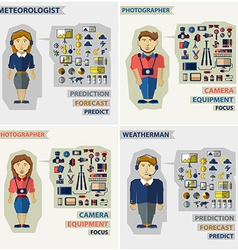 Set of professions photographer meteorologist vector