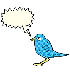 Cartoon garden bird with speech bubble vector