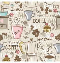 Beige seamless patterns with coffee set vector