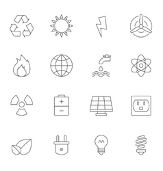Eco energy outline icons vector