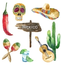 Watercolor mexico icons vector