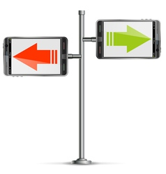 Pole with smartphone vector