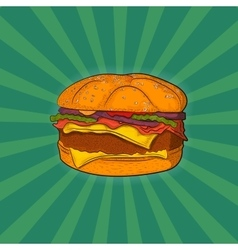Hand drawn burger fast food vector