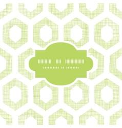 Abstract green fabric textured honeycomb cutout vector image