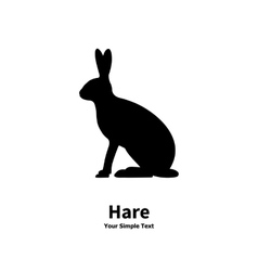 black silhouette of hare vector image vector image