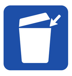 Blue white information sign - trashcan icon vector