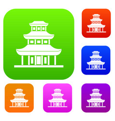 buddhist temple set collection vector image vector image