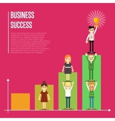 Business success banner with business peole vector image