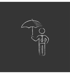 Businessman with umbrella drawn in chalk icon vector