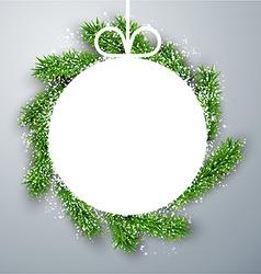 Christmas paper ball on fir branches vector