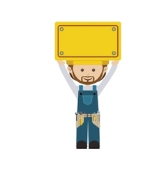Colorful man worker with toolkit and yellow vector