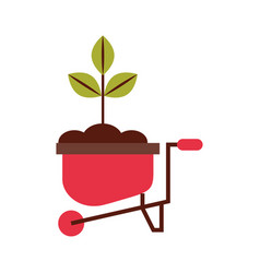 Cultivated plant in wheelbarrow vector