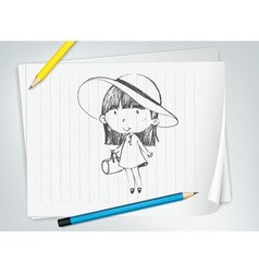 Cute girl with hat vector image