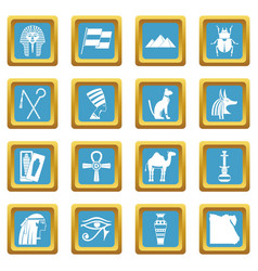 egypt travel items icons azure vector image