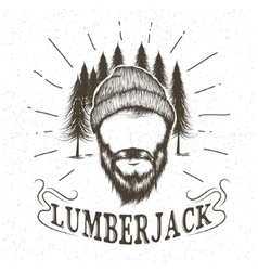 Face of lumberjack with beard and hat vector
