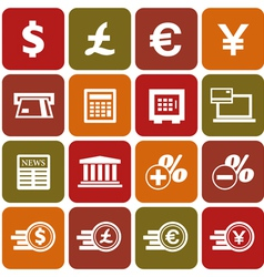 Financial and money icon set vector image vector image