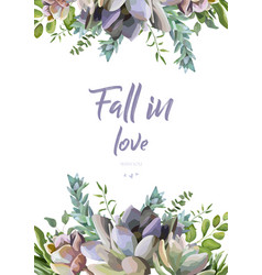 floral card design succulent flower plant vector image vector image