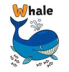 Funny little whale Alphabet W vector image