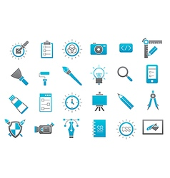Graphic design gray blue icons set vector image vector image