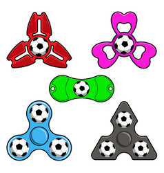 Hand spinner toys with football ball flat vector