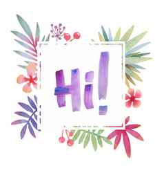hawaii greeting with tropical leaves frame vector image
