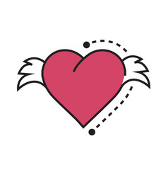 icon hearts wings pink vector image