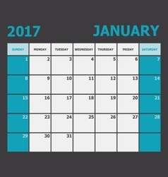January 2017 calendar week starts on sunday vector