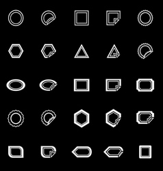 Label line icons on black background vector