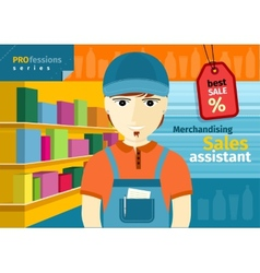 Male sales assistant in uniform on his workplace vector