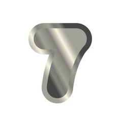 Number 7 steel metal font seven silver alphabet vector