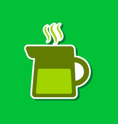 Paper sticker on stylish background coffee maker vector