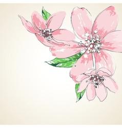 Pink flowers background corner decoration vector